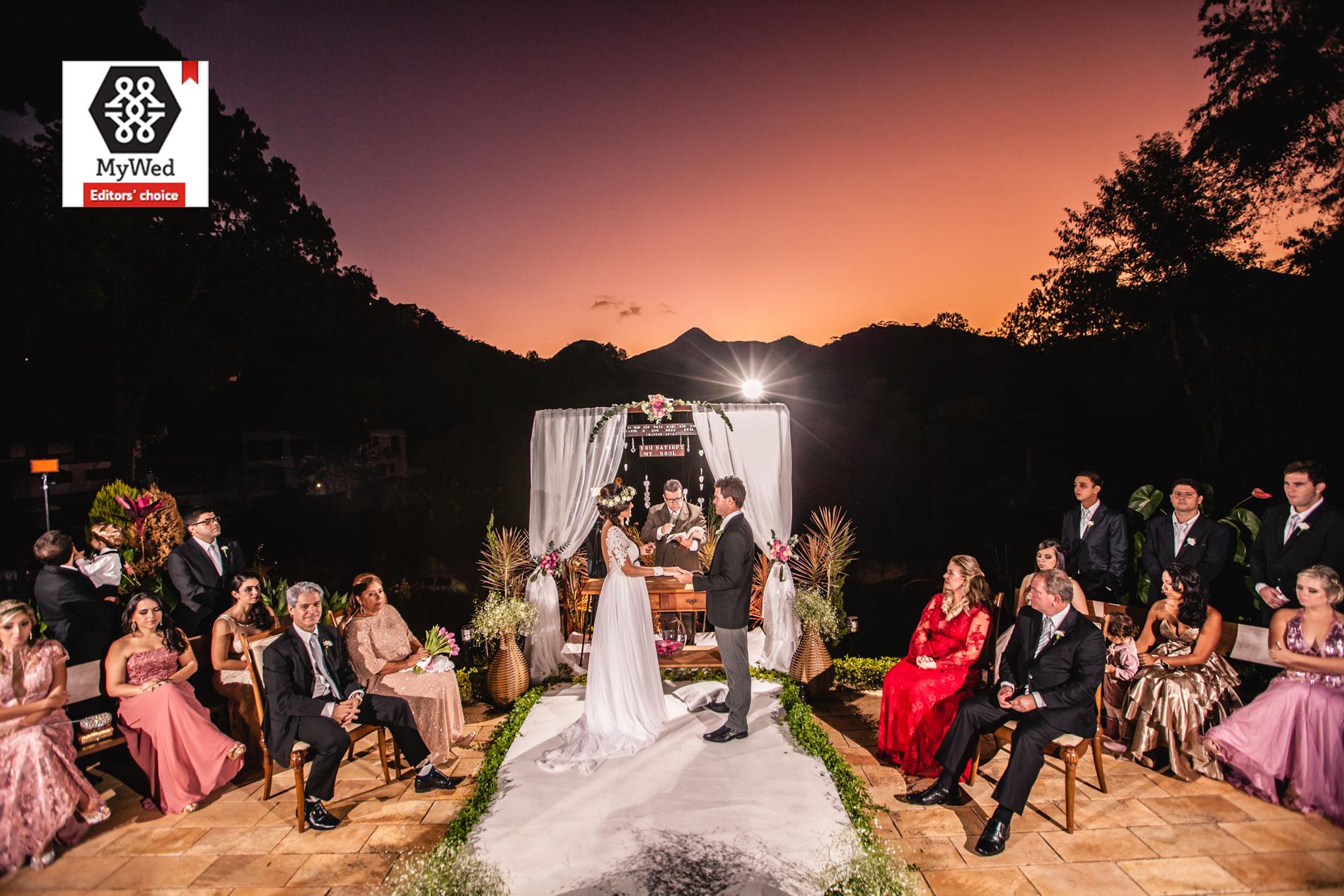 Casamento ao pôr do sol em Teresópolis